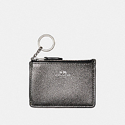 COACH MINI SKINNY ID CASE IN METALLIC CROSSGRAIN LEATHER - SILVER/GUNMETAL - F21072
