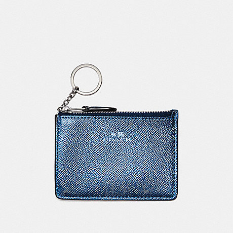 COACH MINI SKINNY ID CASE IN METALLIC CROSSGRAIN LEATHER - SILVER/METALLIC NAVY - f21072
