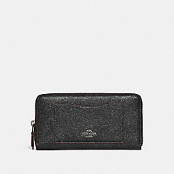 COACH ACCORDION ZIP WALLET - SILVER/BLACK - F21073