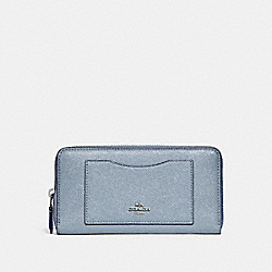 COACH ACCORDION ZIP WALLET - SILVER/DUSK 2 - F21073