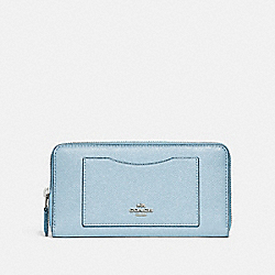 COACH ACCORDION ZIP WALLET - SILVER/PALE BLUE - F21073