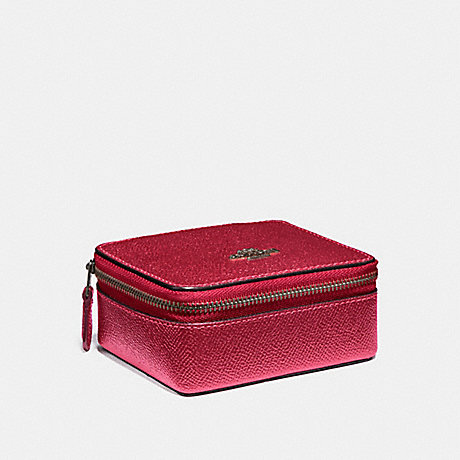 COACH JEWELRY BOX - METALLIC HOT PINK/BLACK ANTIQUE NICKEL - f21074