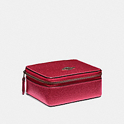 JEWELRY BOX - f21074 - METALLIC HOT PINK/BLACK ANTIQUE NICKEL