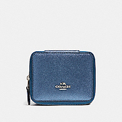 JEWELRY BOX IN METALLIC CROSSGRAIN LEATHER - f21074 - SILVER/METALLIC NAVY