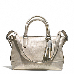 COACH MOLLY METALLIC LEATHER EAST/WEST SATCHEL - SILVER/CHAMPAGNE - F21133