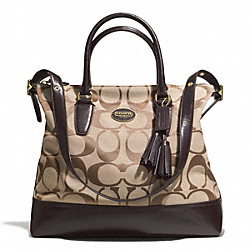 COACH RORY SIGNATURE NORTH/SOUTH SATCHEL - BRASS/KHAKI/MAHOGANY - F21147