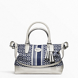COACH SIGNATURE STRIPE MOLLY SATCHEL - SILVER/NAVY/IVORY - F21154