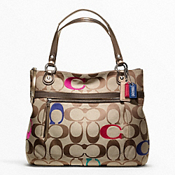 COACH POPPY EMBELLISHED SIGNATURE GLAM TOTE - SILVER/MULTICOLOR - F21184