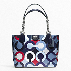 COACH MADISON GRAPHIC OP ART METALLIC TOTE - ONE COLOR - F21235