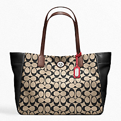 COACH LEGACY WEEKEND PRINTED SIGNATURE EAST-WEST TURNLOCK TOTE - SILVER/KHAKI/BLACK - F21236