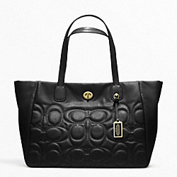 COACH WEEKEND TURNLOCK TOTE IN QUILTED LEATHER - ONE COLOR - F21237