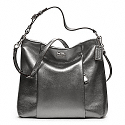 COACH MADISON METALLIC LEATHER ISABELLE SHOULDER BAG - SILVER/GUNMETAL - F21245