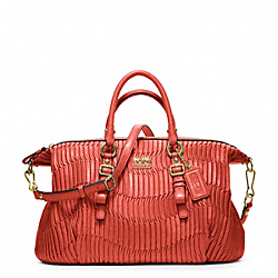 COACH MADISON GATHERED LEATHER JULIETTE - BRASS/CORAL - F21280