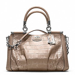 COACH MADISON EMBOSSED CROC PINNACLE CARRIE SATCHEL - SILVER/PLATINUM - F21286