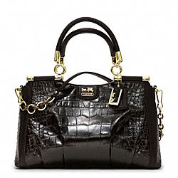 COACH MADISON PINNACLE EMBOSSED MIXED CARRIE SATCHEL - GOLD/ESPRESSO - F21291