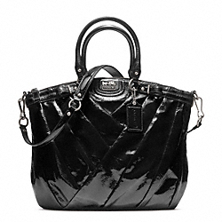MADISON DIAGONAL PATENT LINDSEY NORTH/SOUTH SATCHEL - SILVER/BLACK - COACH F21299