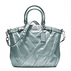 COACH MADISON DIAGONAL PATENT LINDSEY NORTH/SOUTH SATCHEL - SILVER/GREY - F21299