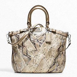 MADISON DIAGONAL PLEATED METALLIC EXOTIC LINDSEY SATCHEL - f21314 - 13008