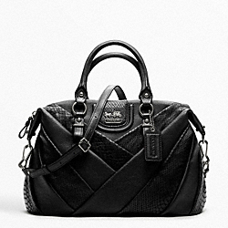 COACH MADISON DIAGONAL PLEATED MIXED EXOTIC JULIETTE - ANTIQUE NICKEL/BLACK - F21319