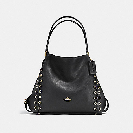 COACH EDIE SHOULDER BAG 31 WITH COACH LINK DETAIL - BLACK/LIGHT GOLD - f21348