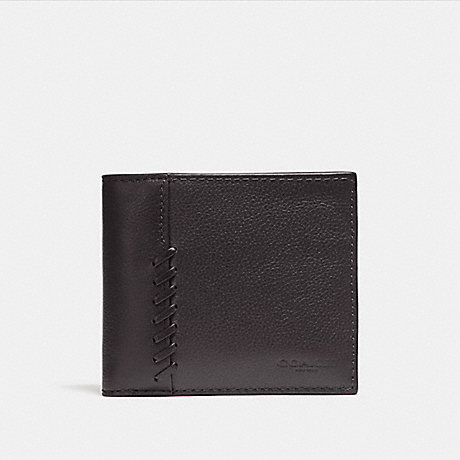 COACH 3-IN-1 WALLET WITH BASEBALL STITCH - BLACK - f21371