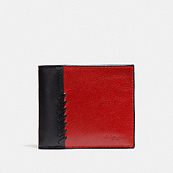 3-IN-1 WALLET WITH BASEBALL STITCH - CRANBERRY/BLACK ANTIQUE NICKEL - COACH F21371
