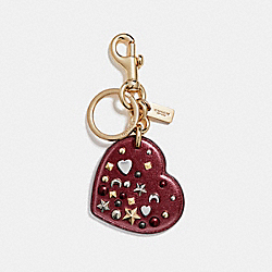 COACH STARDUST STUDS HEART BAG CHARM - GOLD/METALLIC CHERRY - F21393