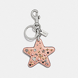 COACH STARDUST STUDS STAR BAG CHARM - SILVER/METALLIC PEACH - F21394