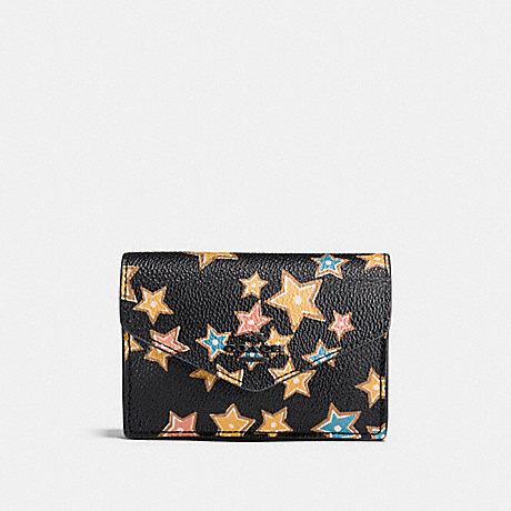 COACH ENVELOPE CARD CASE WITH STARLIGHT PRINT - MATTE BLACK/BLACK MULTI - f21555