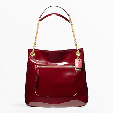 COACH POPPY SLIM TOTE IN PATENT LEATHER -  BRASS/CRIMSON - f21583