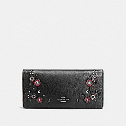 SLIM WALLET WITH TEA ROSE - BLACK MULTI/DARK GUNMETAL - COACH F21608