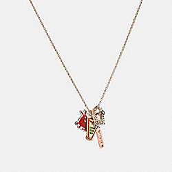 CLUSTERED VARSITY CHARM NECKLACE - f21613 - GOLD/MULTI