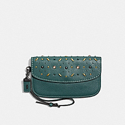 CLUTCH WITH PRAIRIE RIVETS - BP/DARK TURQUOISE - COACH F21638