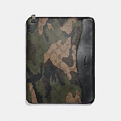 TECH CASE IN SIGNATURE CAMO COATED CANVAS - f21646 - MAHOGANY/DARK GREEN CAMO