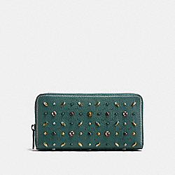 COACH ACCORDION ZIP WALLET WITH PRAIRIE RIVETS - Dark Turquoise/Black Copper - F21691