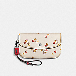 CLUTCH WITH CHERRY PRINT - BP/CHALK - COACH F21778