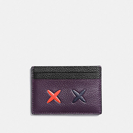 COACH CHEEKY FLAT CARD CASE IN POLISHED PEBBLE LEATHER - SILVER/MULTICOLOR 1 - f21828