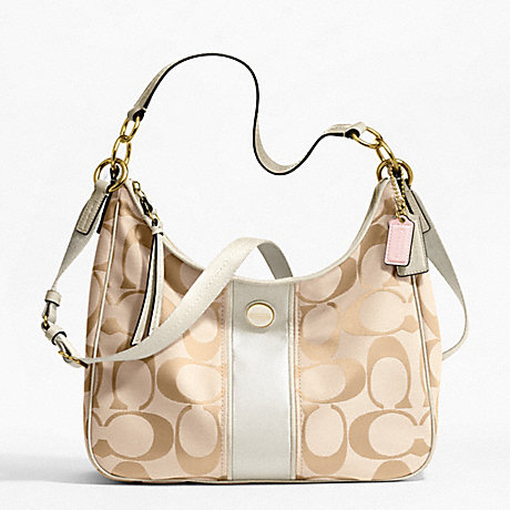 COACH f21873 SIGNATURE STRIPE CONVERTIBLE HOBO BRASS/LIGHT KHAKI/WHITE
