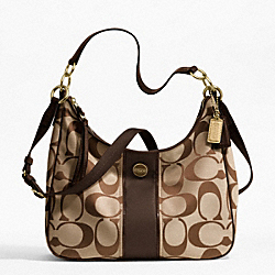 SIGNATURE STRIPE CONVERTIBLE HOBO - f21873 - 12805