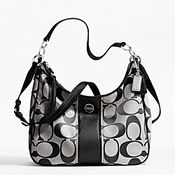 COACH SIGNATURE STRIPE CONVERTIBLE HOBO - SILVER/BLACK/WHITE/BLACK - F21873