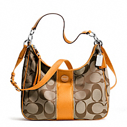 COACH SIGNATURE STRIPE CONVERTIBLE HOBO - ONE COLOR - F21873