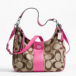 COACH SIGNATURE STRIPE CONVERTIBLE HOBO - SILVER/KHAKI/MULBERRY - F21873