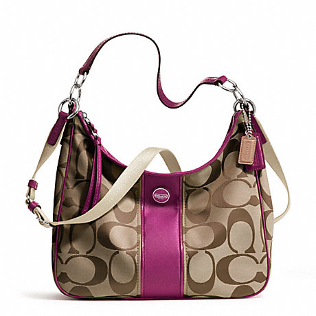 COACH f21873 SIGNATURE STRIPE CONVERTIBLE HOBO SILVER/KHAKI/PASSION BERRY