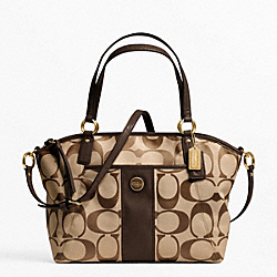 COACH SIGNATURE STRIPE POCKET TOTE - BRASS/KHAKI/MAHOGANY - F21899