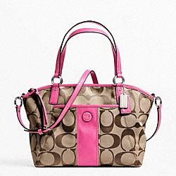 COACH SIGNATURE STRIPE POCKET TOTE - SILVER/KHAKI/MULBERRY - F21899