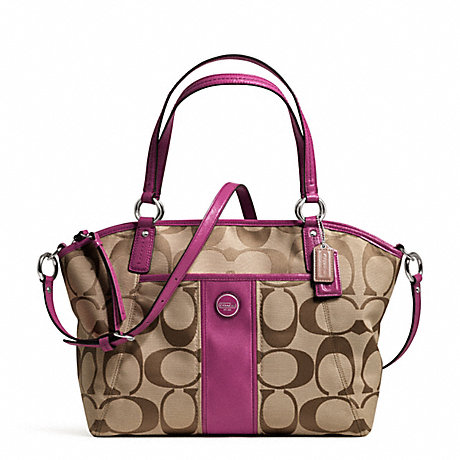 COACH SIGNATURE STRIPE POCKET TOTE - SILVER/KHAKI/PASSION BERRY - f21899