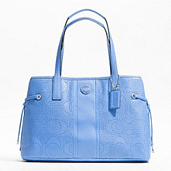 COACH SIGNATURE STRIPE PERFORATED CARRYALL - ONE COLOR - F21938
