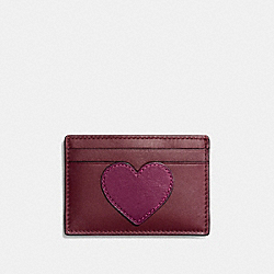 COACH HEART FLAT CARD CASE IN REFINED CALF LEATHER - SILVER/MULTICOLOR 1 - F22132