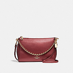 COACH CARRIE CROSSBODY - LIGHT GOLD/METALLIC CHERRY - F22207