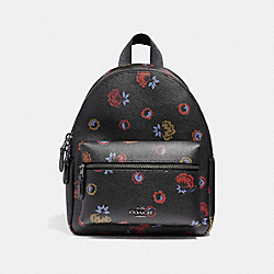 COACH MINI CHARLIE BACKPACK WITH PRIMROSE FLORAL PRINT - ANTIQUE NICKEL/BLACK MULTI - F22234